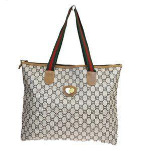GUCCI PLUS Shoulder Tote Bag PVC Leather Brown Ma